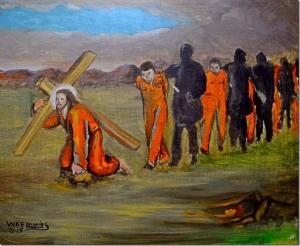Achter Christus, met kruis, aan